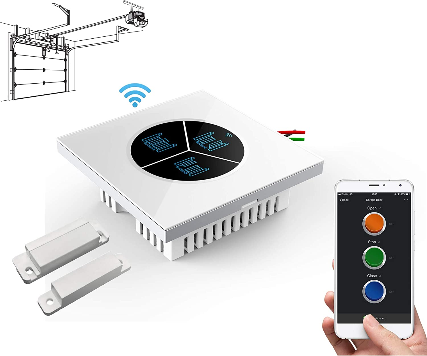 Wireless Garage Door Opener Remote WiFi Switch Universal Controlled by  Smartphone for Automatic Gate Opener System (with Door Sensor) - -  Amazon.com