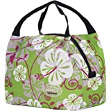 Aosbos Reusable Insulated Lunch Box Tote Bag (Green Flowers)