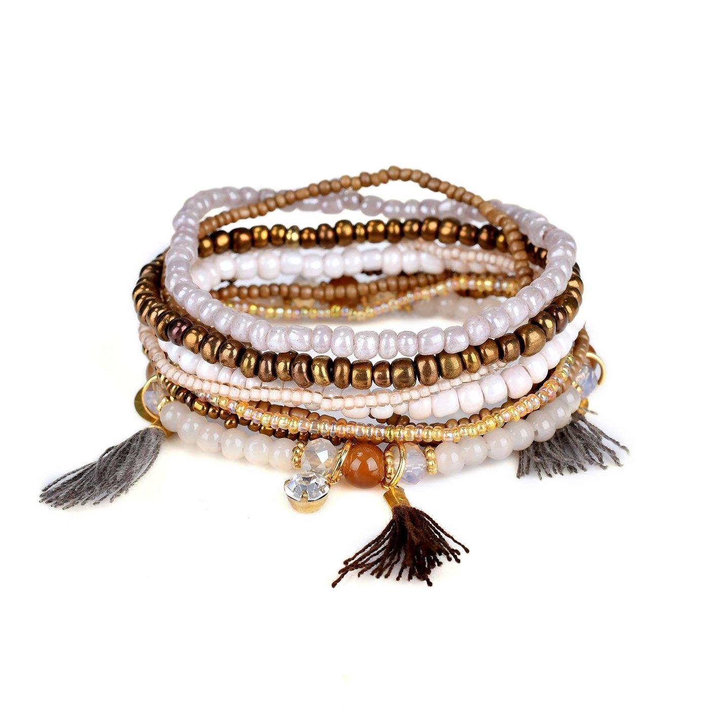 Teniu Girls Fashion Bead Bracelet Charm Bohemian Bracelet Vitality Layered Stretch Bracelets for Women Girls Jewelry BONFASH 602693116206