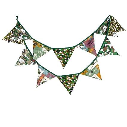 Queta - Banderines de Tela de algodón de Camuflaje de 3,2 m para decoración