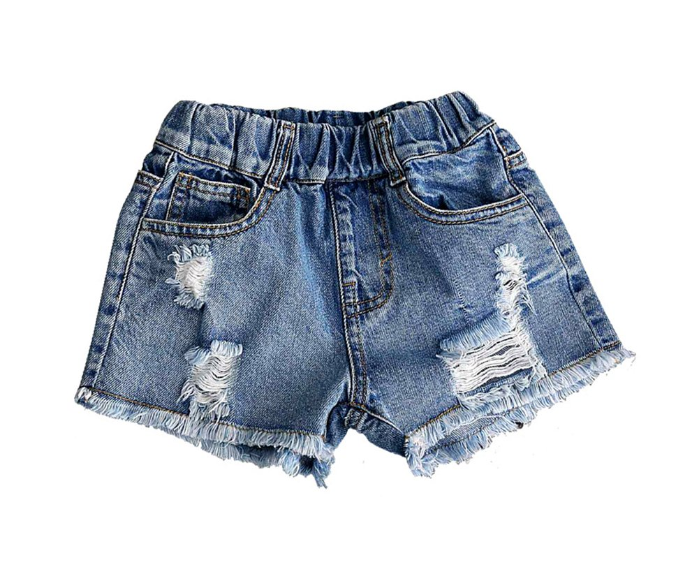 Tortor 1Bacha Kid Little Girls Demin Distressed Jeans Shorts Toddlers Summer Pants 6-7
