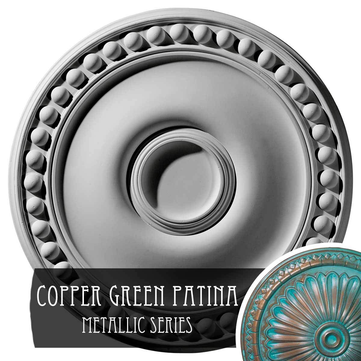 Ekena Millwork CM19FOCGS Foster Ceiling Medallion, 19 1/8'' OD x 1'' P, Copper Green Patina