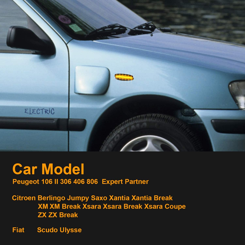 LED Side Indicator Compatible with 106 II 306 406 806 Expert Partner Berlingo Jumpy Saxo Xantia Break XM XM Break Xsara Xsara Break Xsara Coupe ZX Break Scudo Ulysse