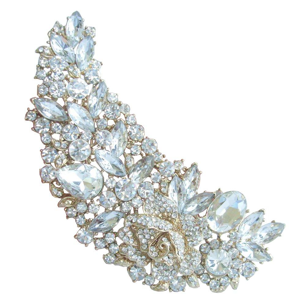 Sindary Wedding 4.72'' Gold-Tone Clear Rhinestone Crystal Flower Brooch Pin