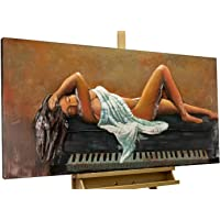 KunstLoft® Stravagante Metallo Relief 3D 'Lezioni di Piano' 120x60x5cm | Decorazione Parete XXL Design Fatta a Mano | Pianoforte Donna Nero Bianco | Quadro Lussuoso Scultura plastico murale
