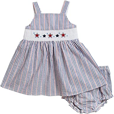 Good Lad Newborn//Infant Girls Navy and White July 4th Seersucker Sundress with Matching Seersucker Panty