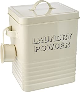 The Leonardo Collection LP22215 Sweet Home Laundry Powder Storage Tin with Scoop, Cream