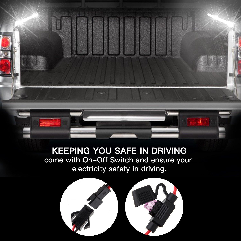 Leeleberd Truck Bed Lights Strip 2pcs 60 Led Cargo Waterproof 2 Way Switch For Car Light 12v Kit On Off Fuse