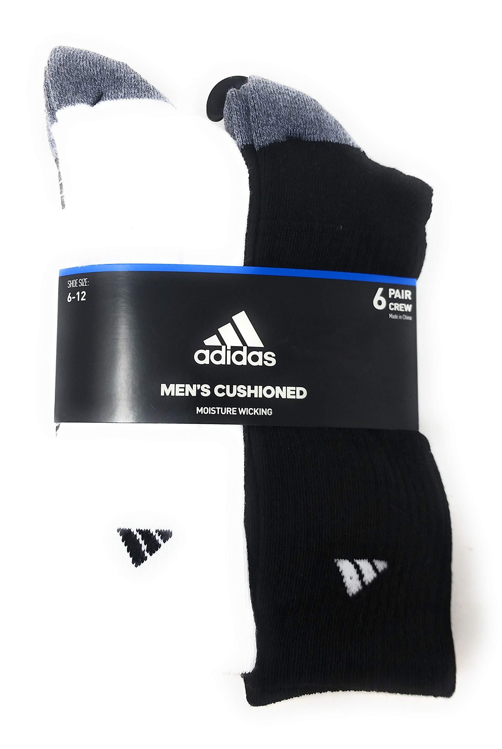 Adidas Mens Cushioned Crew Socks, Black/White, Sizes 6-12, 6 Pair
