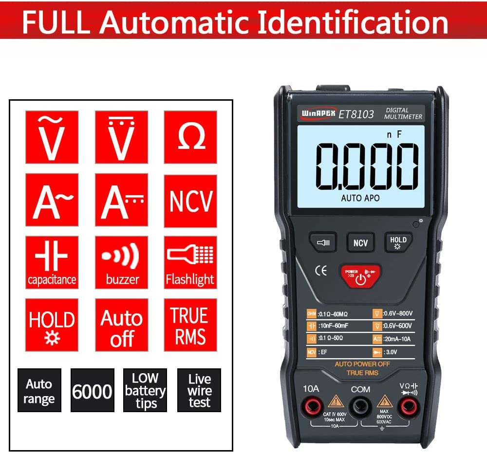 Portable Digital Multimeter True RMS LCD Display Auto Measure AC/DC Voltage Current Capacitance Electric Field Resistance Meter 71RvQiDYTIL
