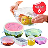 BPA Free Silicone Stretch Lids Reusable Expandable, 6 Pack TERSELY Eco-Friendly Silica Reusable Lids Food Saving Covers for Various Sizes Bowl Containers, Safe in Microwave and Freezer (Clear)