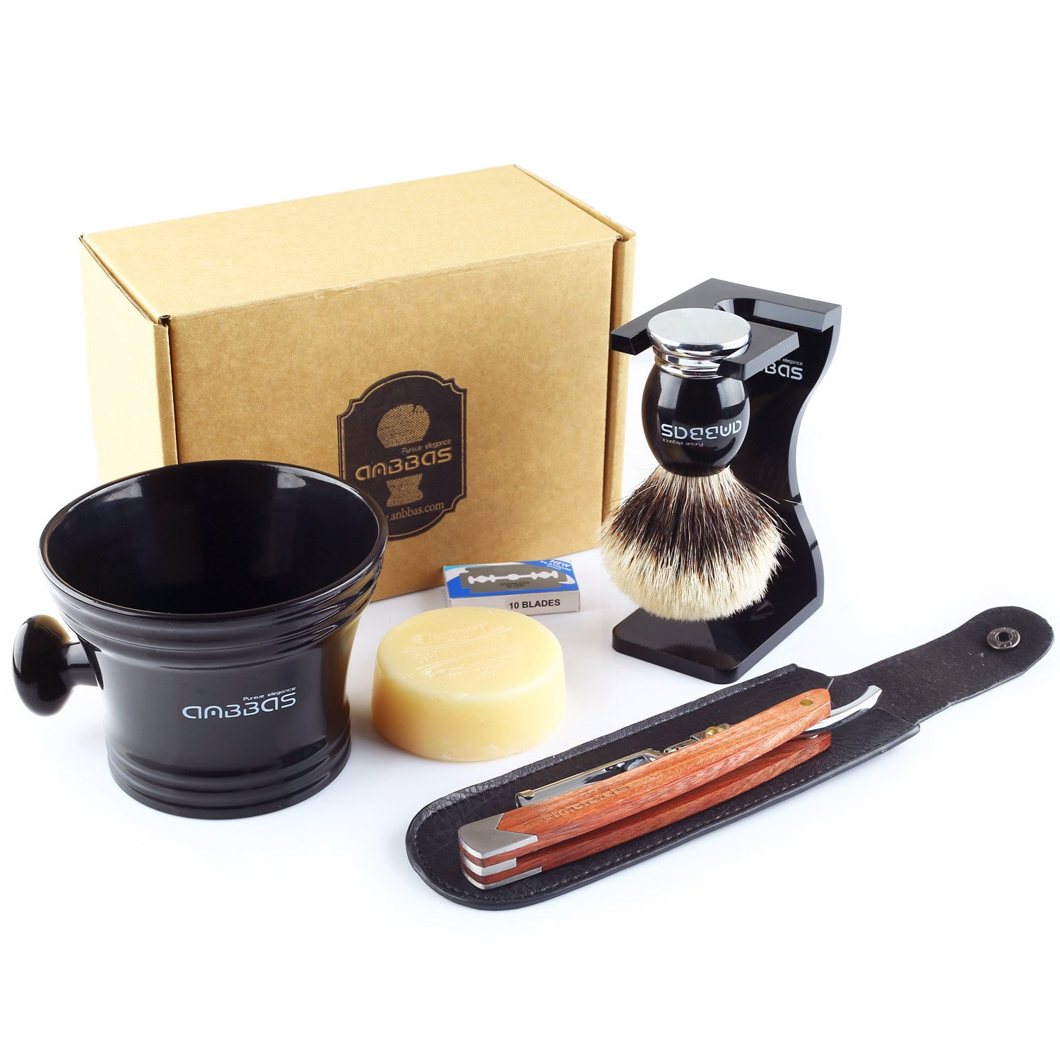 7pcs Shaving Set,Anbbas Silvertip Badger Shaving Brush,100g Goat Milk Soap,Acrylic Anti-impact Shaving Stand,Dia 4'' Resin Shaving Mug,Folding Rosewood Straight Razor,Shaving Shavette bag & 10 Blades