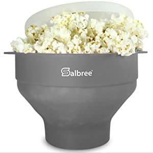 The Original Salbree Microwave Popcorn Popper, Silicone Popcorn Maker, Collapsible Bowl BPA Free - 14 Colors Available (Gray)