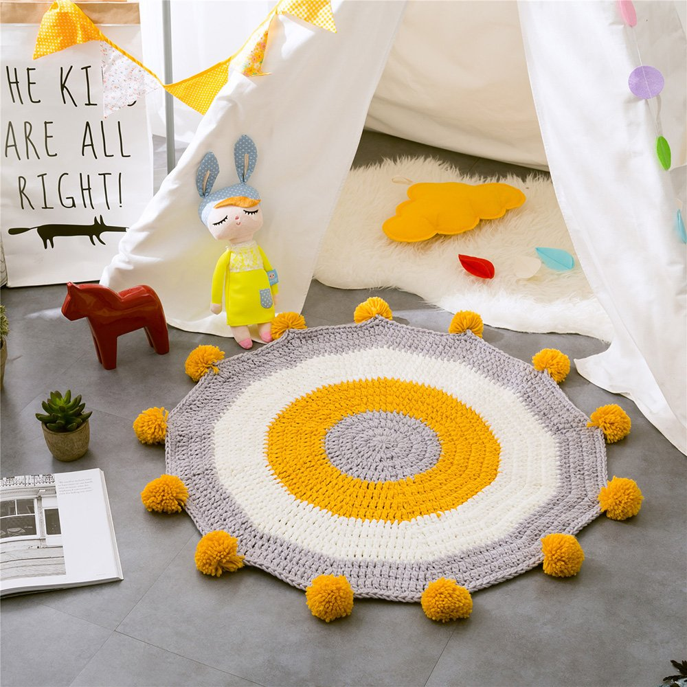 Round Rugs for Kid's Play Mat Handmade Floor Decor Carpet (31.5'' x 31.5'') Cotton Cable Knitted Children's Game Baby Room Decorative Cartoon Animal Area Rugs Yellow