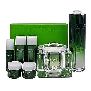 Nature Republic Ginseng Royal WATERY CREAM & ESSENCE GIFT SET Plus Miniatures Whitening and Wrinkle Improvement Premium Skincare