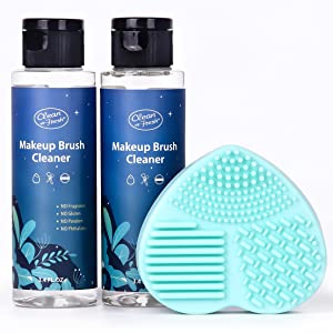 Clean-n-Fresh Makeup Brush Cleaner Set For Makeup Brushes, Beauty Blender, Sponge and Puff Deep Cleaning. 2x3.4oz Washing Cleanser Shampoo With Cleaning Mat