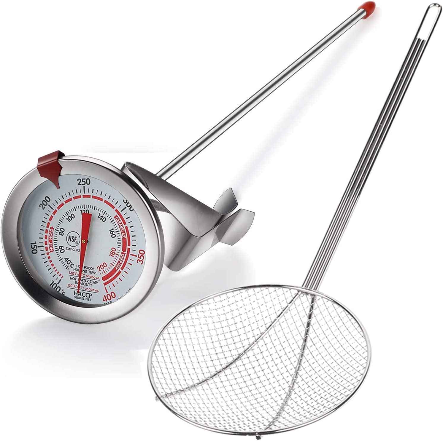 Oil Thermometer Deep Fry + Skimmer Spoon, Deep Fryer Thermometer with Clip, Frying Thermometer has 12