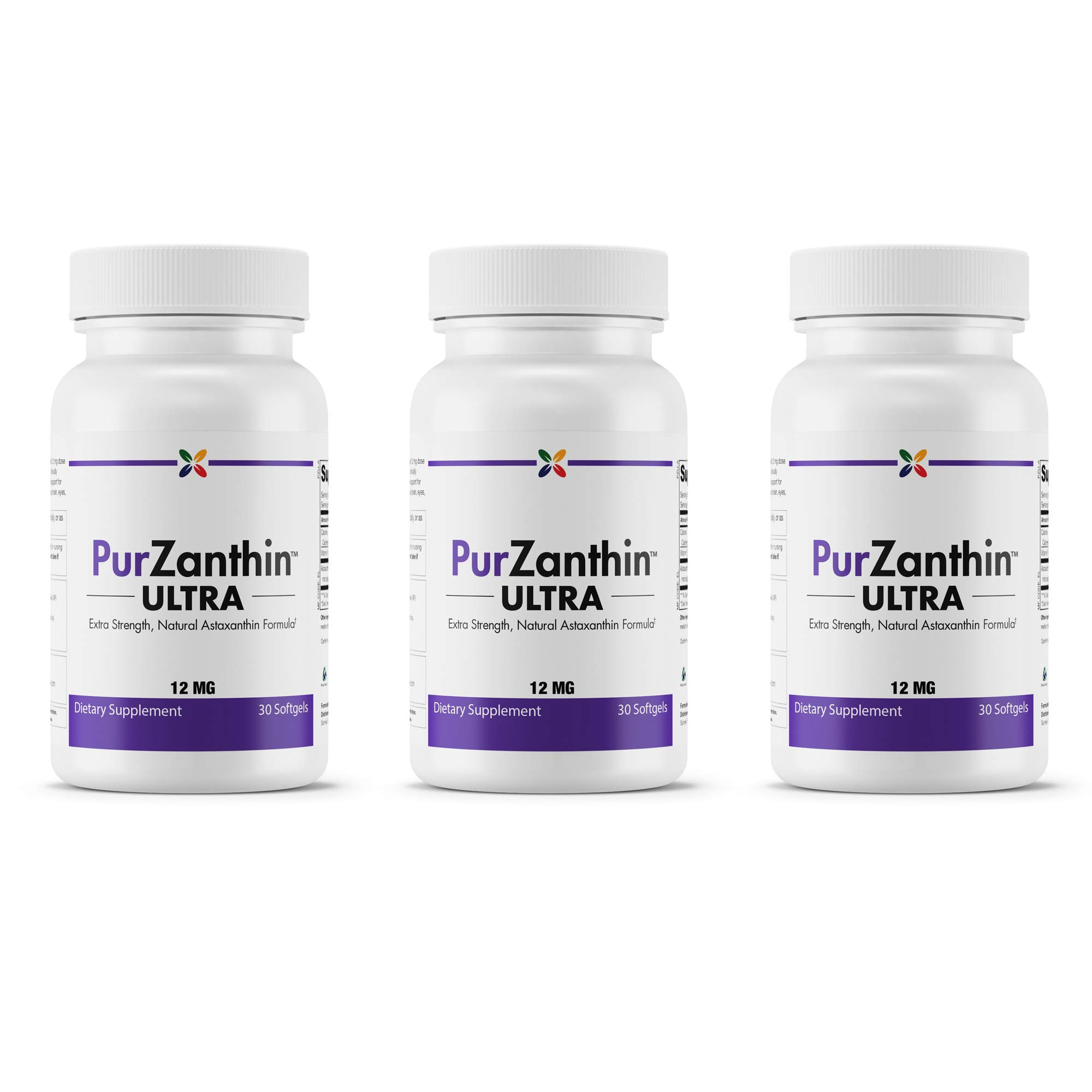 Stop Aging Now - PurZanthin Ultra Natural Astaxanthin 12 mg - Extra Strength Natural Astaxanthin Formula - 90 Softgels (3 Bottles)