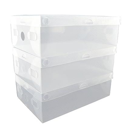 24 unidades zapatero cajas de plástico transparente para contenedor de zapatos armario organización - con