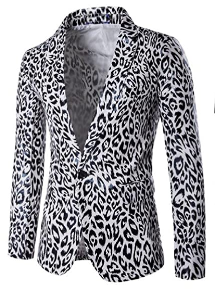 Amazon.com: winwinus para hombre Blazer leopardo 1 botón ...