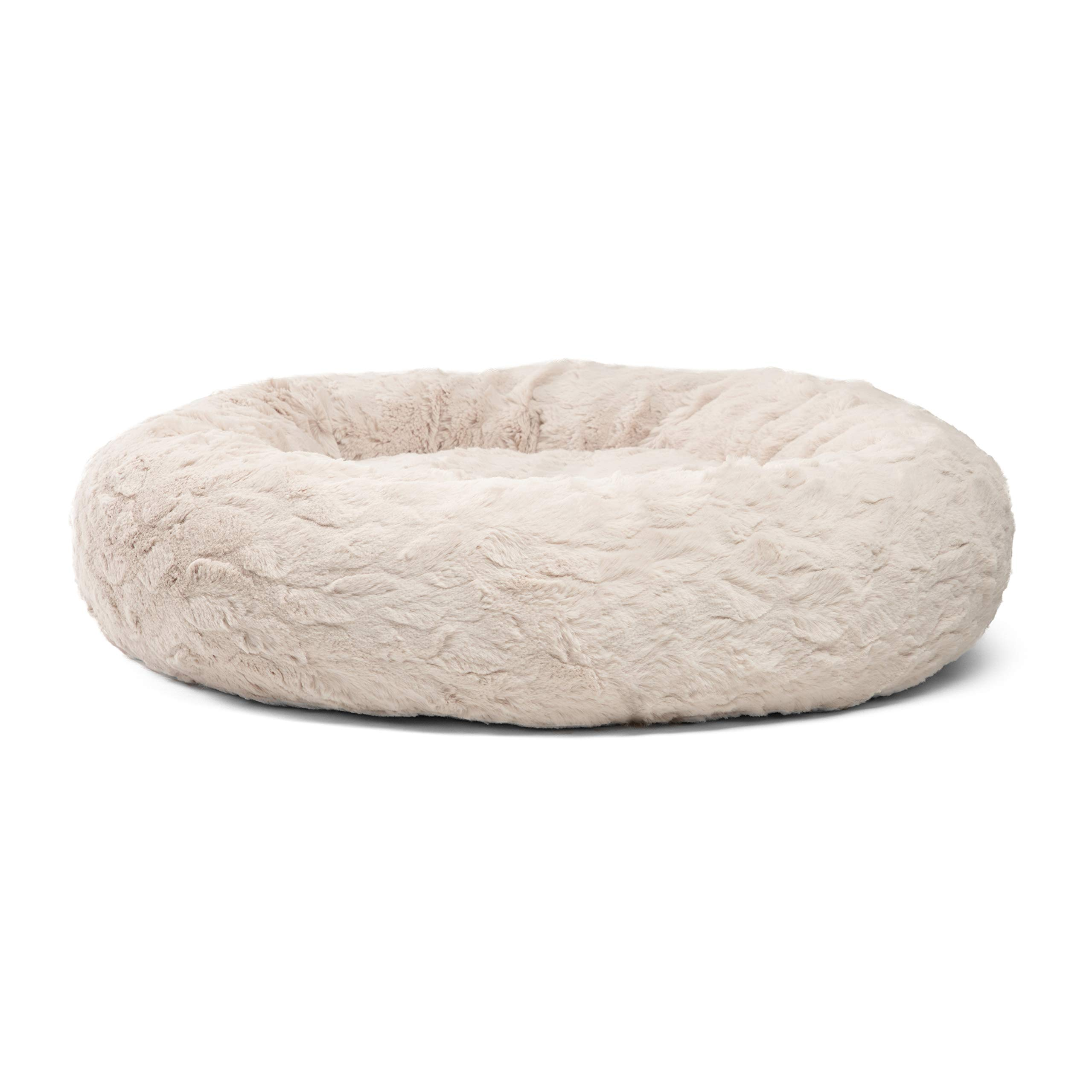 Best Friends by Sheri Donut Cuddler in Lux Fur Dog Bed/Cat Bed, 30''X30'', Oyster