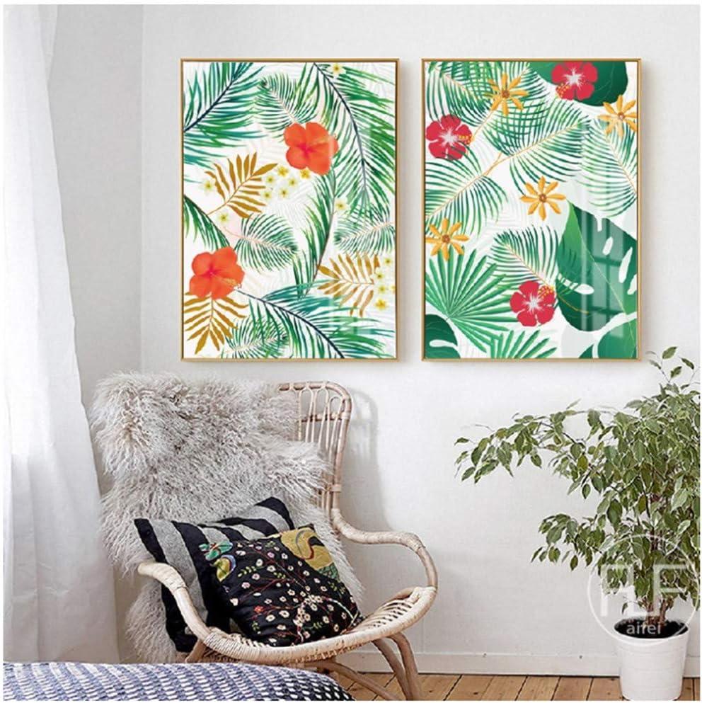 RuiChuangKeJi Plantas y Flores de Acuarela Pintura de Lienzo Plantas Tropicales Arte Cuadros de Pared para Sala de Estar Decoración del hogar50x70cm Sin Marco