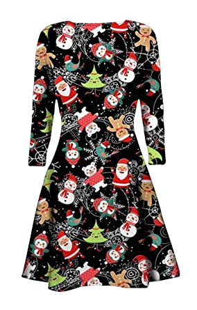 f962f55d11a New Women Ladies Christmas Xmas Novelty Jumper Tunic Size Top Long Sleeve  Dress UK 8-26 (ML (UK 12-14)