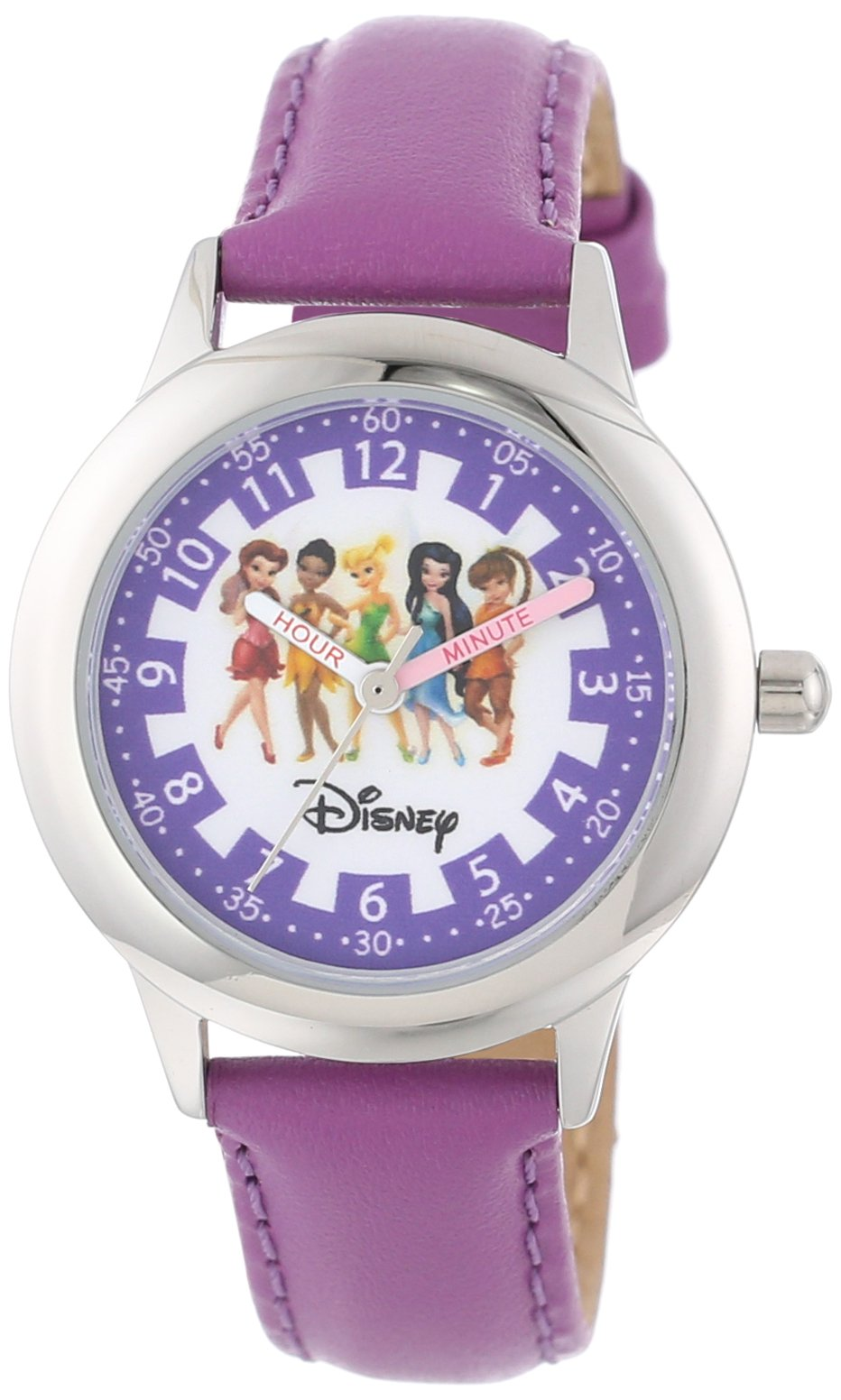 Disney Kids' W000079 ''Fairies Time Teacher'' Stainless Steel Watch with Purple Leather Band