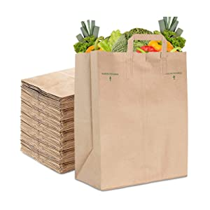 Stock Your Home 70 Lb Kraft Brown Paper Bags with Handles (50 Count) - Kraft Brown Paper Grocery Bags Bulk - Large Paper Bags with Handles for Grocery Shopping - Handles Provide Grip for Trash Bag Use