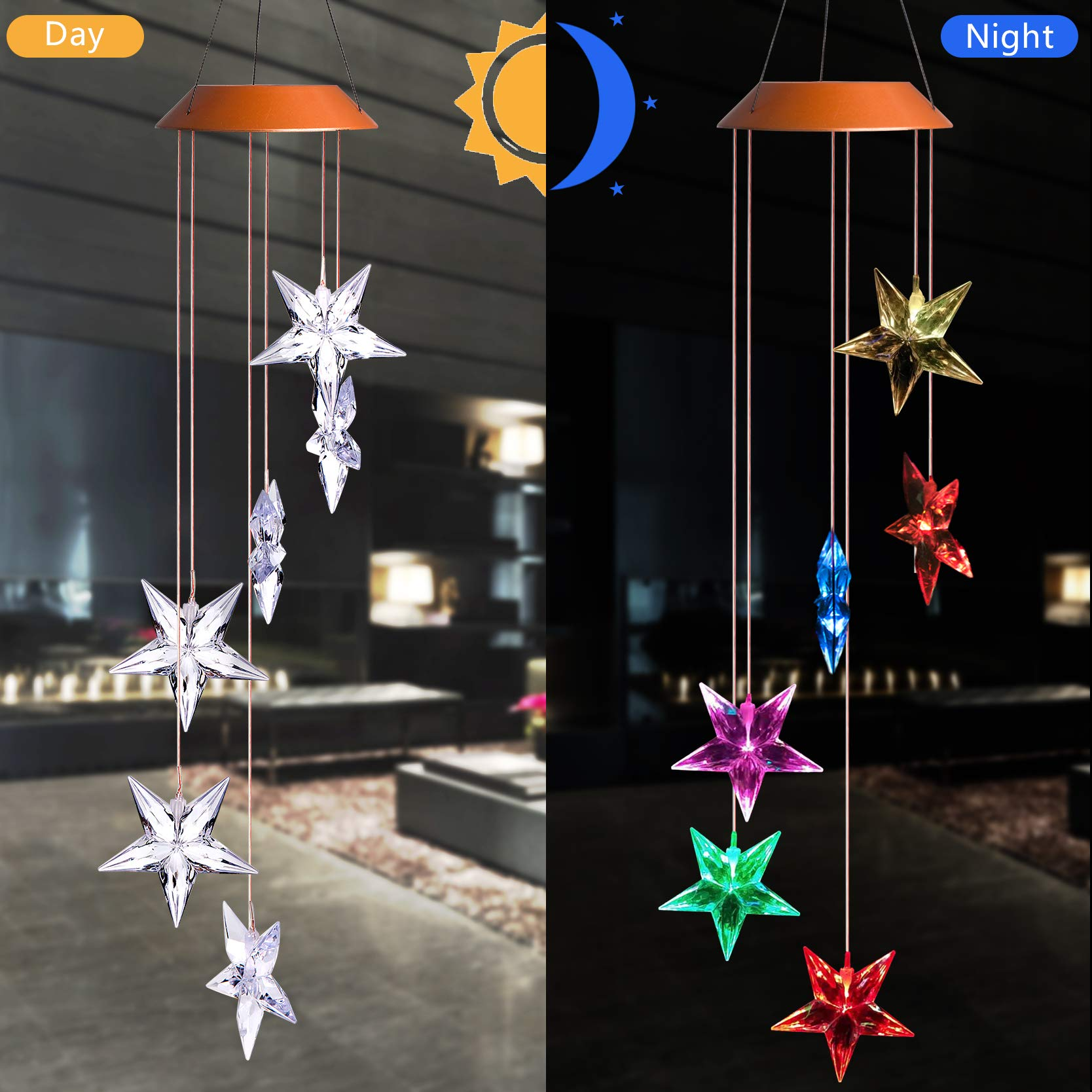 CXFF LED Solar Stars Wind Chimes Outdoor - Waterproof Solar Powered LED Changing Light Color Six Stars Mobile Romantic Wind-Bell Home, Party, Festival Decor, Night Garden Decoration