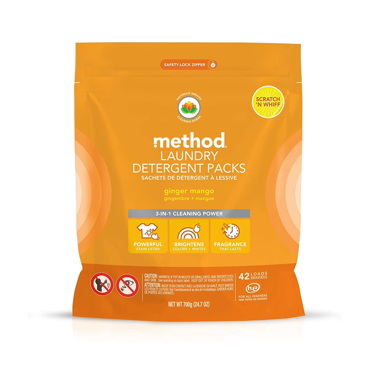 Method Laundry Detergent Packs, Ginger Mango, 42 Count