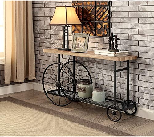 Benjara Sofa Console Table With Wooden Top And Metal Wheels Base, Brown And Black