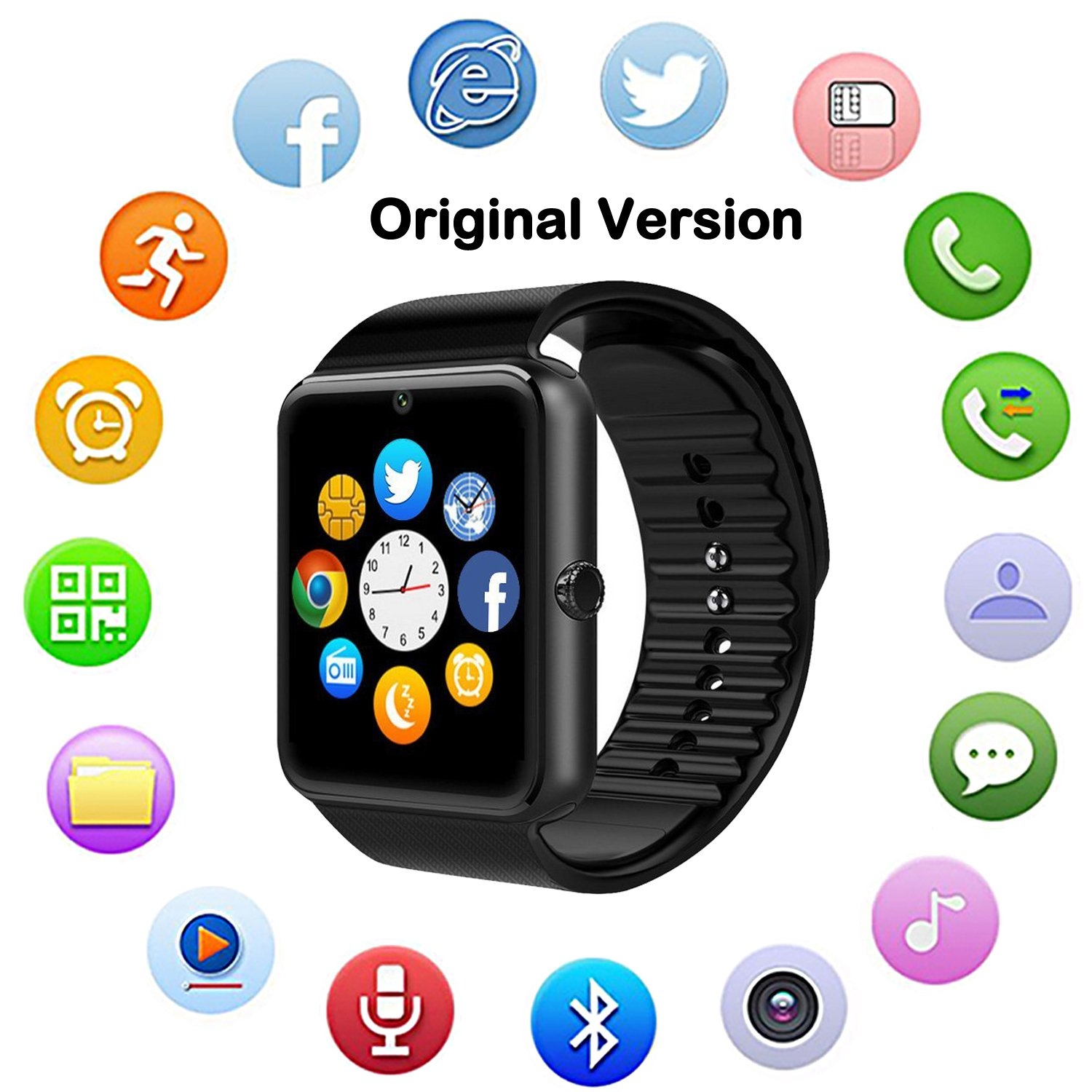 Bluetooth Smart Watch with Camera, Touch Screen Smartwatch with Sim Card Slot Fitness Tracker for Android/Samsung /iOS Apple Smart Phones (Original Version)