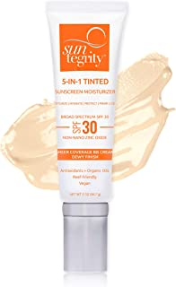 product image for Suntegrity 5 in 1 Tinted Mineral Sunscreen for Face (SPF 30 - 2 oz) - Fair | Natural BB Cream Moisturizer with Physical UVA/UVB Broad Spectrum Protection | Safe for Sensitive Skin