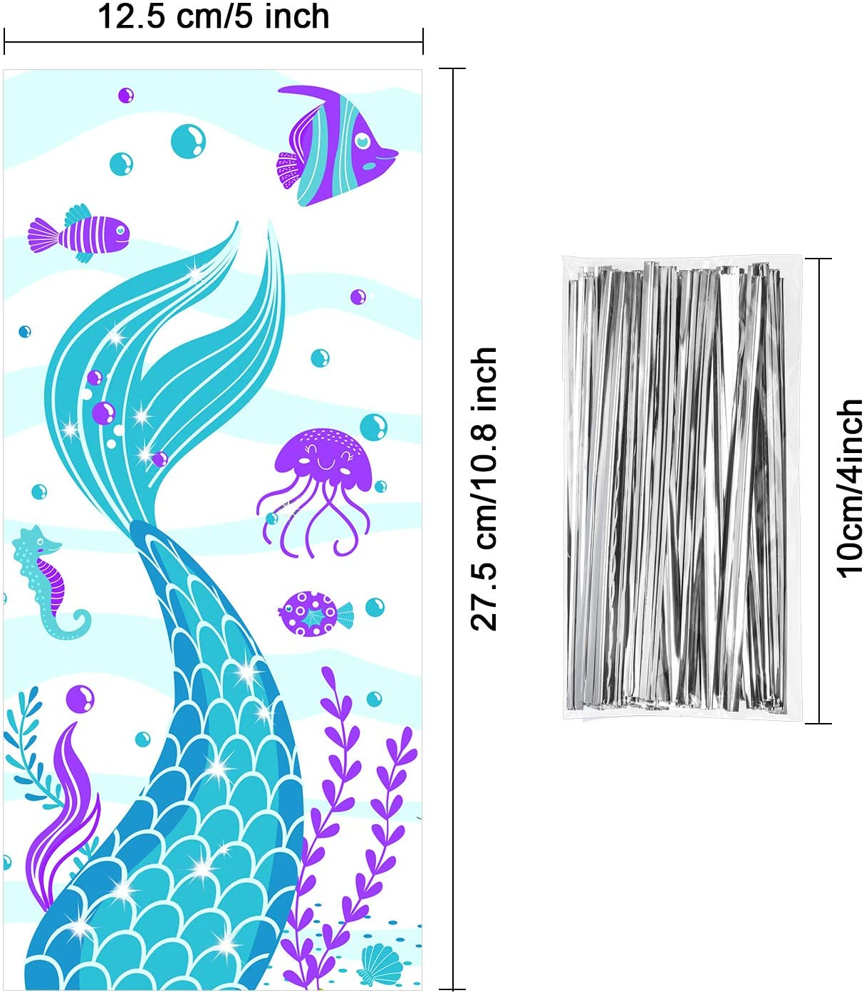100 Pieces Plastic Mermaid Birthday Party Treat Bags Cellophane Clear Mermaid Tail Theme Cookie Candy Goodie Bags with 100 Silver Twist Ties for Under the Sea Little Mermaid Birthday Party Supplies