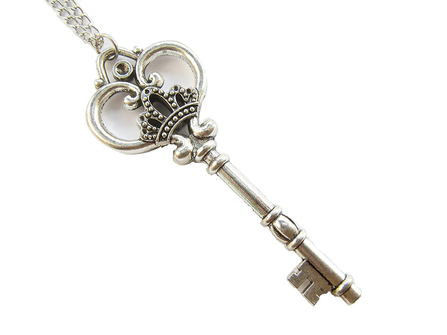 Amazon.com: Large Skeleton Key Necklace, Antique Silver Finish Key ...