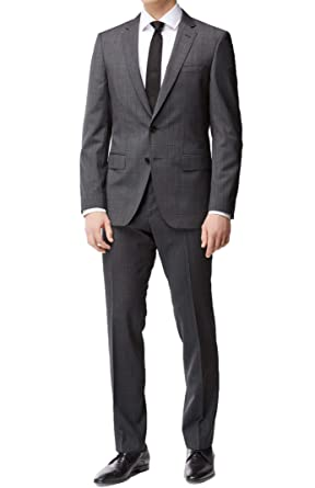 569f500ed Amazon.com: Hugo Boss Men's 'Huge/Genius' Grey Slim Fit Virgin Wool ...