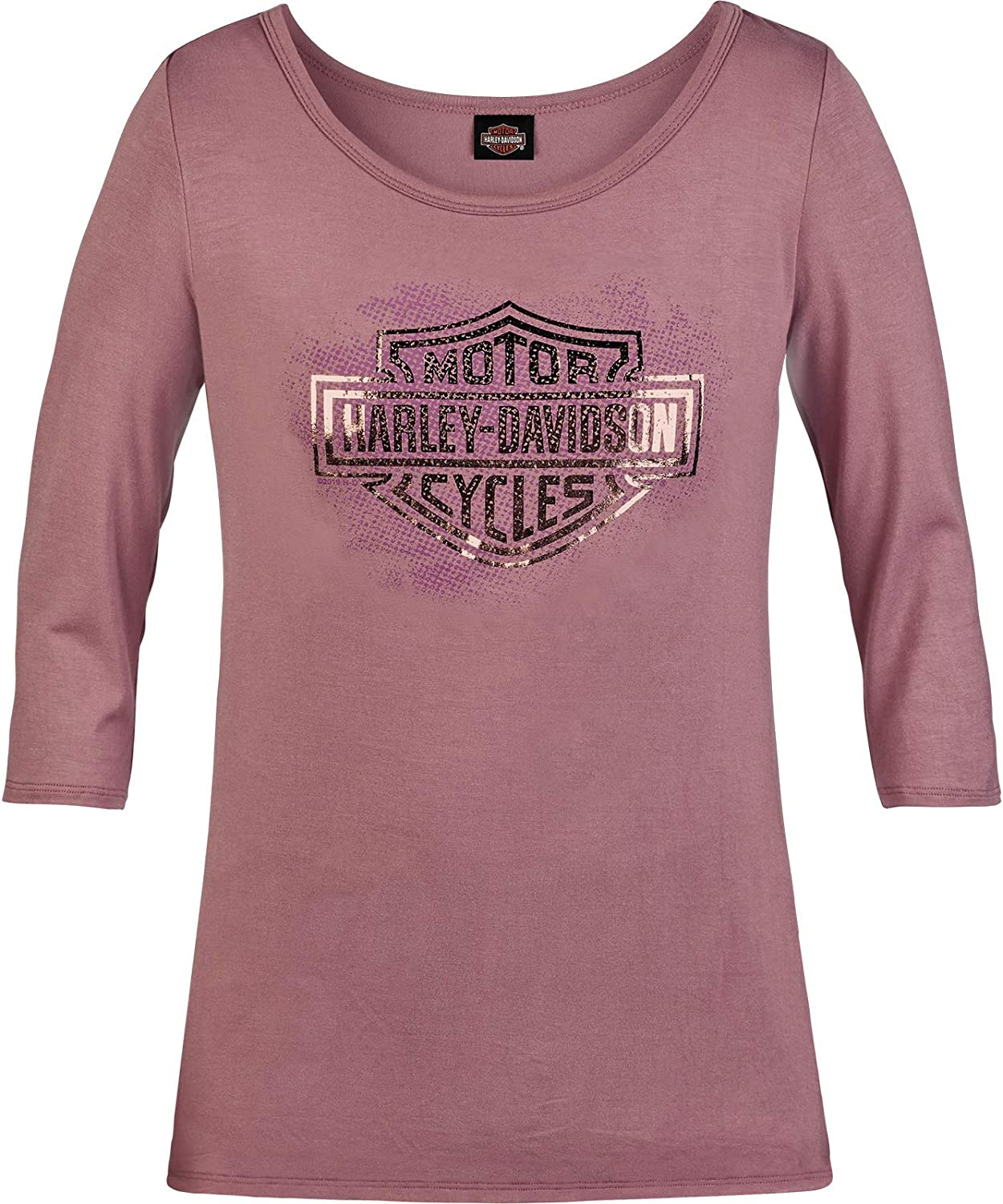 HARLEY-DAVIDSON Military Imagine Womens Mauve 3//4 Sleeve Scoop Neck T-Shirt RAF Mildenhall