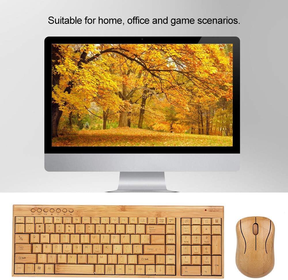 2.4G Bamboo Wireless PC Teclado y ratón Combos Combinados ...