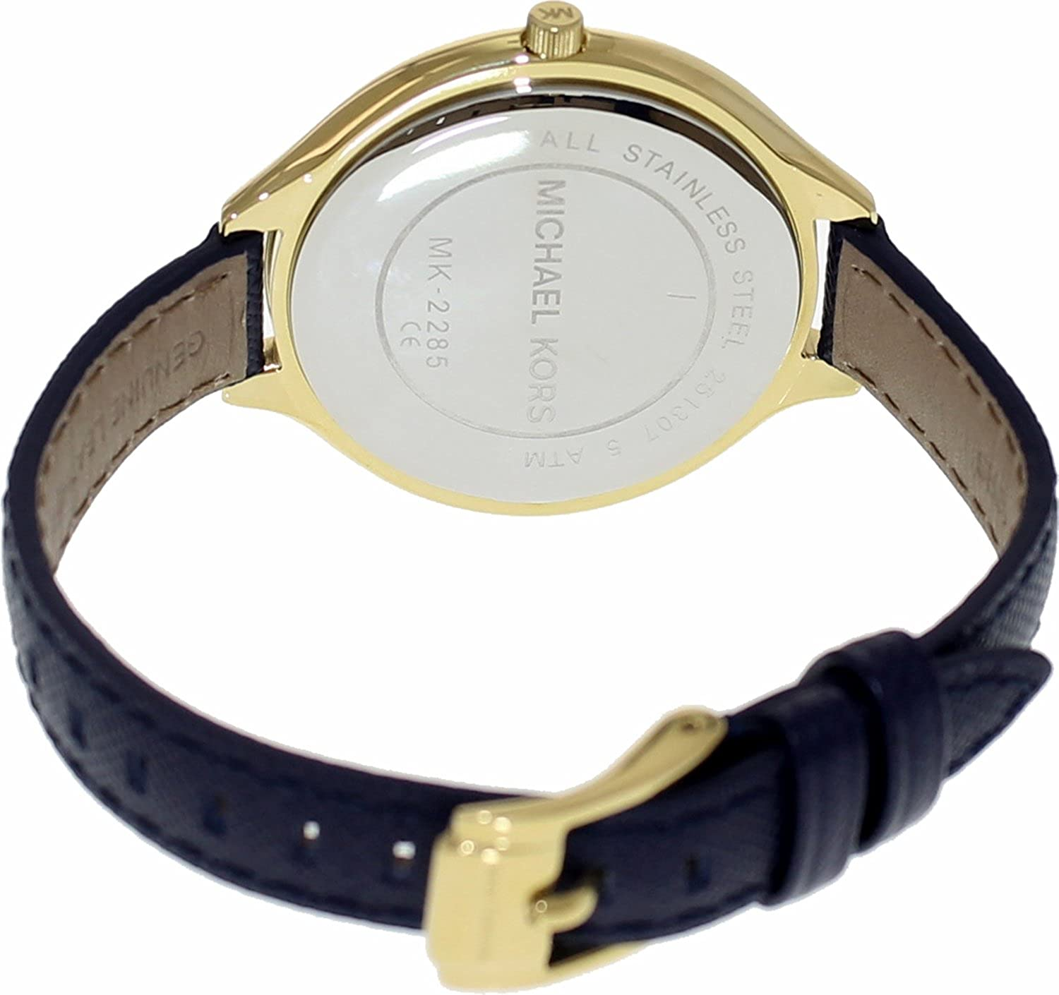 f43979201c08 Amazon.com  Michael Kors Mid-Size Runway Gold-Tone Dial Blue Leather Ladies  Watch MK2285  Michael Kors  Watches