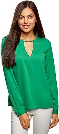 oodji Collection Mujer Blusa con Escote Gota y Decoración Metálica: Amazon.es: Ropa y accesorios