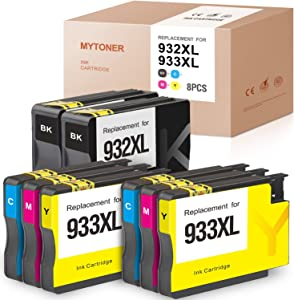 MYTONER Compatible Ink Cartridge Replacement for HP 932XL 933XL 932 XL 933 XL for Officejet 6100 6600 6700 7610 7612 7110 7510 (2 Black, 2 Cyan, 2 Magenta, 2 Yellow, 8 Pack)