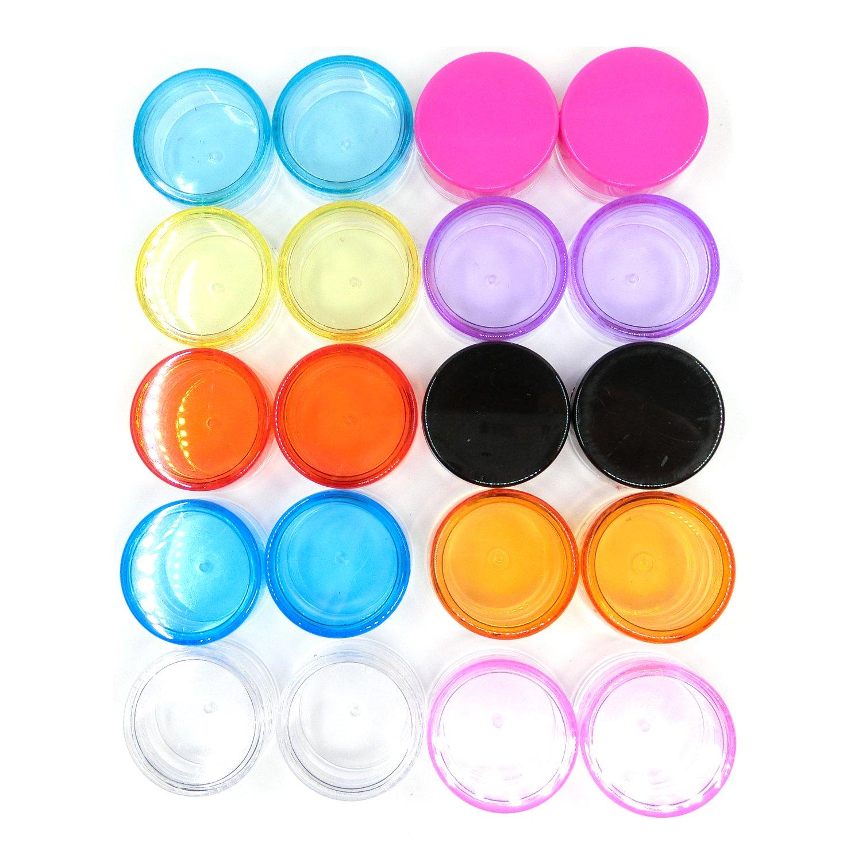 Dancepandas 20 Stück Plastik Döschen Leerer Kosmetikbehälter mit Deckel für Pulver Cremes Muster Strasssteine Nagelglitzer(5 g, 10 Farben)