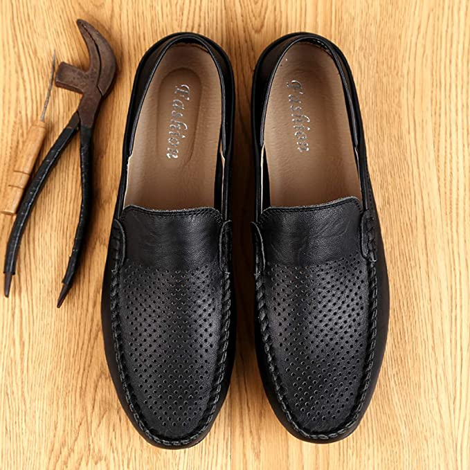 HYF Men Drive Loafers For Casual And Refreshing Breathable Genuine Leather Soft Dress Shoes Business Shoes for Men M Color : Hollow Brown, Size : 10 D US