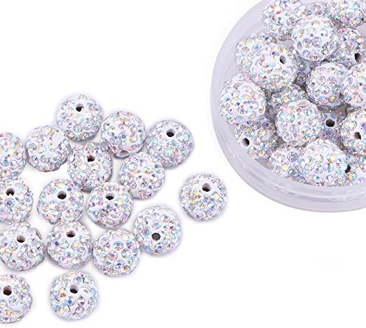 CRAFTS 5//8//10mm 50 SILVER DOT SPARKLING BEADS JEWELLERY MAKING