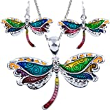 "DianaL Boutique Stunning Dragonfly Pendant Necklace and Earrings Set with 24"" Chain Fashion Jewelry"