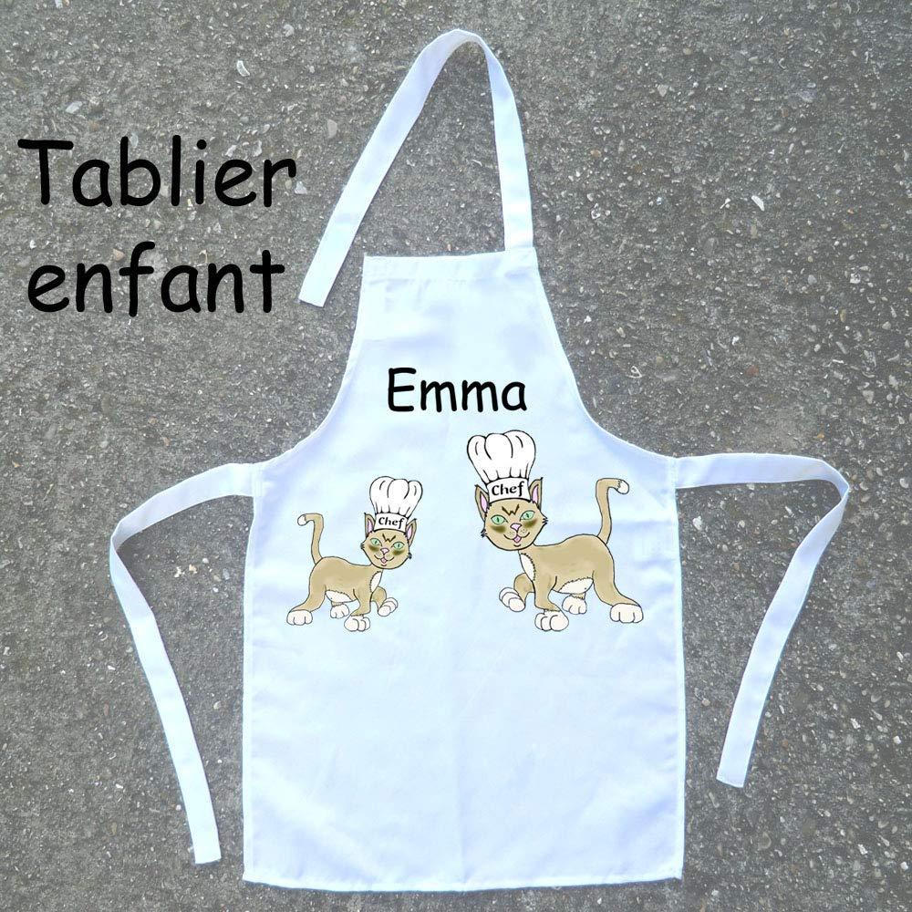 Tablier de cuisine enfant Chat à personnaliser avec un Prénom (ex. Emma)