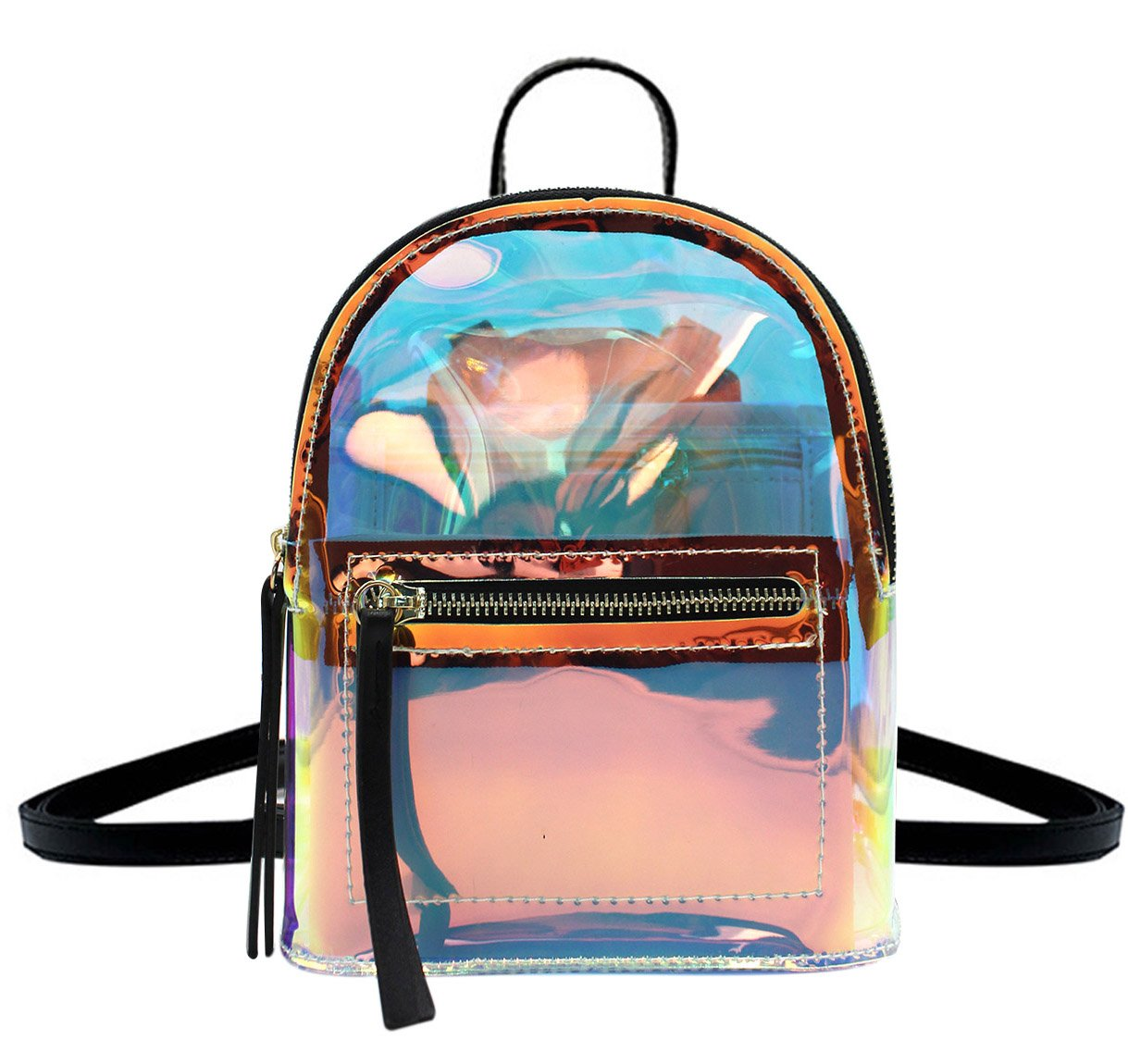 Women Glitter Holographic Backpack Schoolbag Transparet Rainbow Crossbody Shoulder Bag Daypack