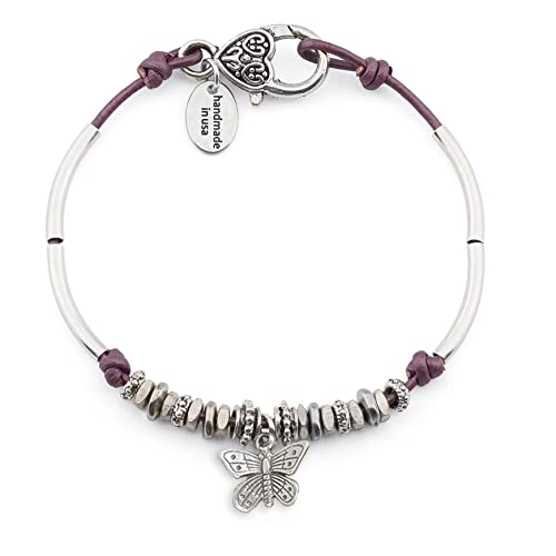 Lizzy James Lola Anklet w Butterfly Charm in Metallic Berry Leather Silver Plate Crescents