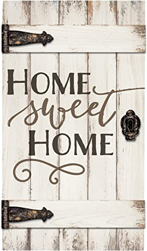 P. Graham Dunn Home Sweet Home White Distressed 18 x 32 Inch Solid Pine Wood Barn Door Wall Plaque Sign